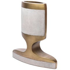 Carmen Vase Medium in Cream Shagreen & Bronze-Patina Brass by R&Y Augousti
