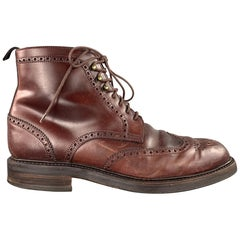 CARMINA Size 10 Burgundy Perforated Wingtip Ankle Boots