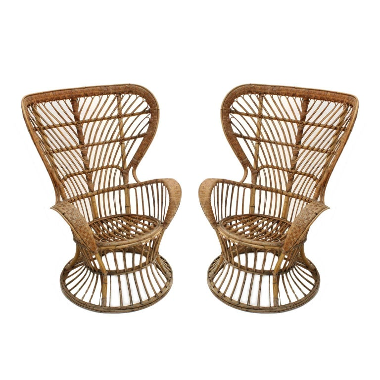 Mid-Century Modern armchair designed by Carminati. Structure handmade of bamboo and rattan, Italy, 1950s.