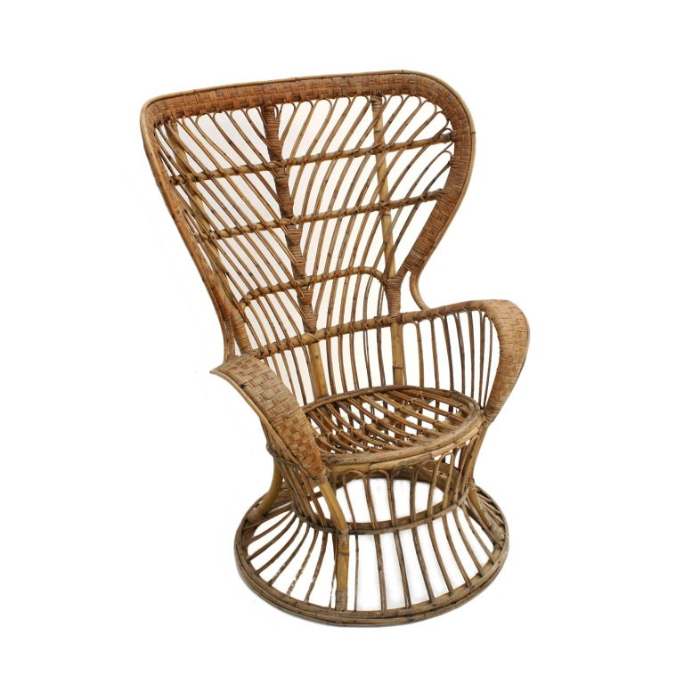 Hand-Crafted Carminati Mid-Century Modern Bamboo Rattan Italian Armchair For Sale