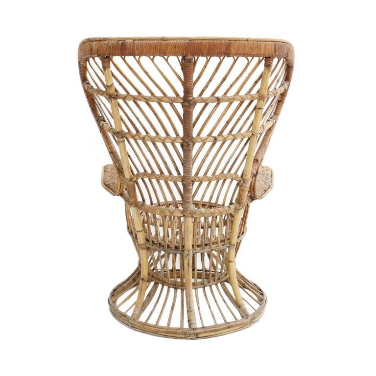Carminati Mid-Century Modern Bamboo Rattan Italian Armchair In Good Condition For Sale In Madrid, ES