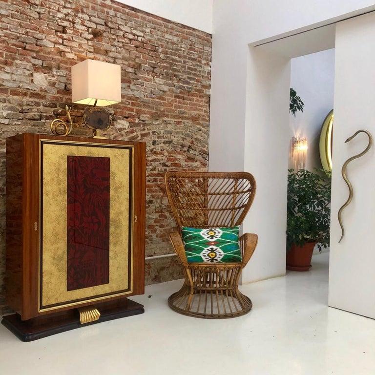 Carminati Mid-Century Modern Bamboo Rattan Italian Armchair For Sale 1