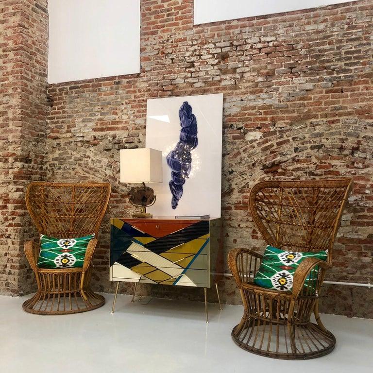 Carminati Mid-Century Modern Bamboo Rattan Italian Armchair For Sale 2