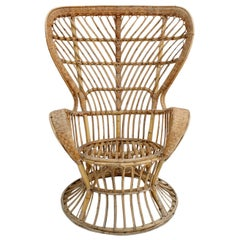 "Carminati Mid-Century Modern Bamboo Rattan ""Conte Biancamano"" Italian Armchair"