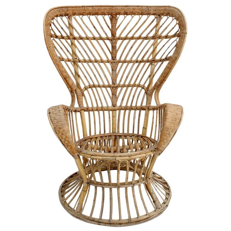"Carminati Mid-Century Modern Bamboo Rattan ""Conte Biancamano"" Italian Armchair For Sale"
