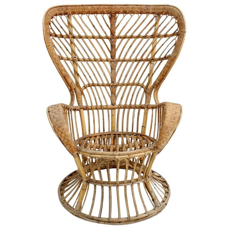 Carminati Mid-Century Modern Bamboo Rattan Italian Armchair For Sale
