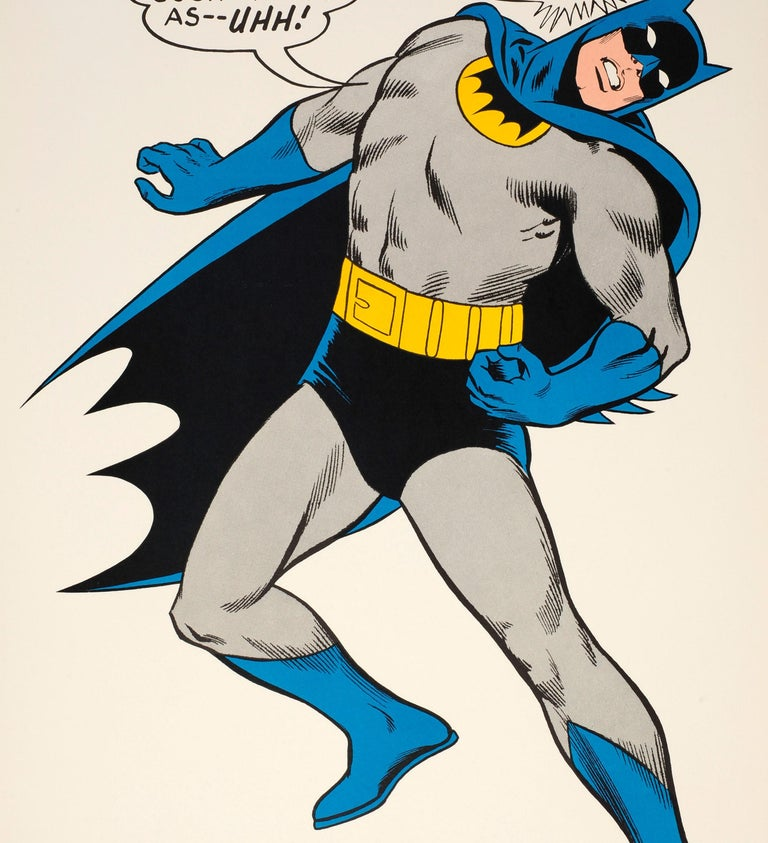 Original Vintage Cartoon Batman Poster For The Iconic Comic Superhero