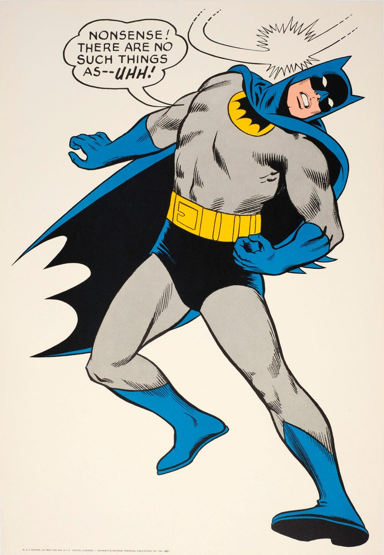 "Carmine Infantino Print - Original Vintage Cartoon Batman Poster For The Iconic Comic Superhero ""...Uhh!"""