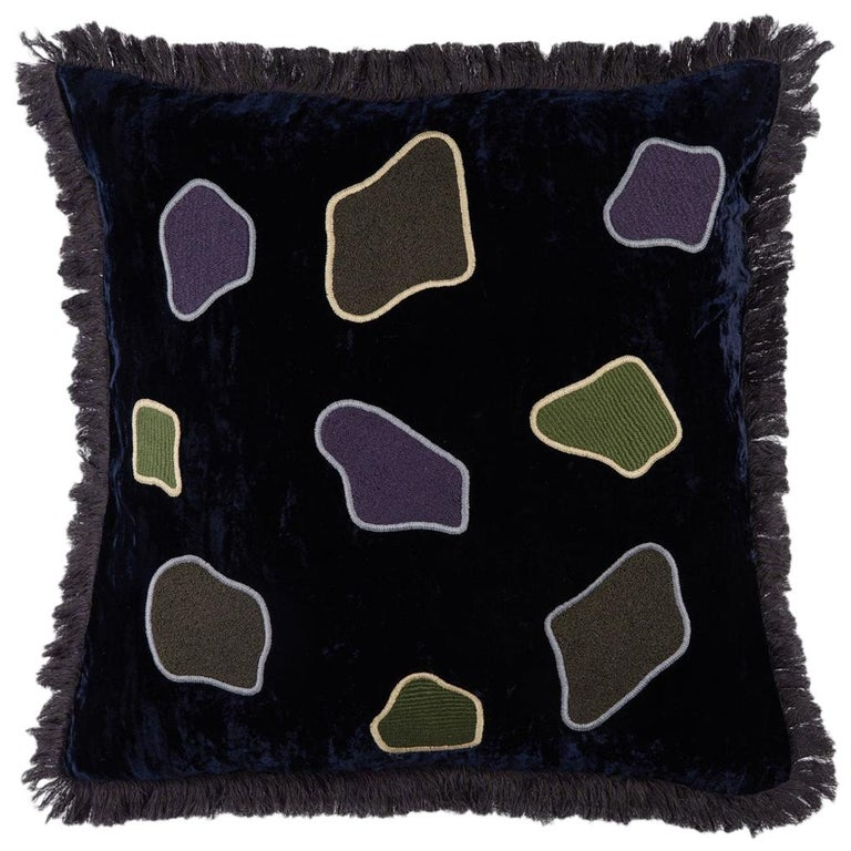 Carmo, Hand Embroidered Silk Velvet Cushion For Sale