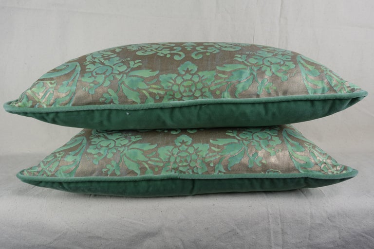 Baroque Carnavalet Patterned Fortuny Pillows, a Pair For Sale