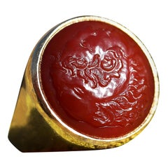 Carnelian Alexander Cameo Signet Ring