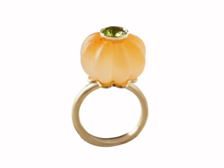 Artist Carnelian Carved Peridot Gold Ring For Sale