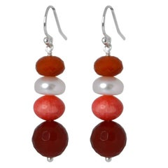Carnelian Coral Pearl Silver Earrings