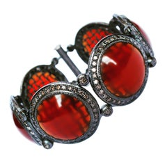 Carnelian Diamond Sterling Silver Oxidized Bracelet One of a Kind
