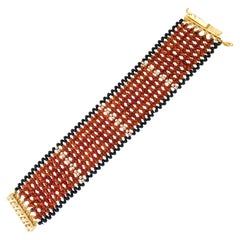Carnelian, Gold, and Onyx Beads Woven Bracelet