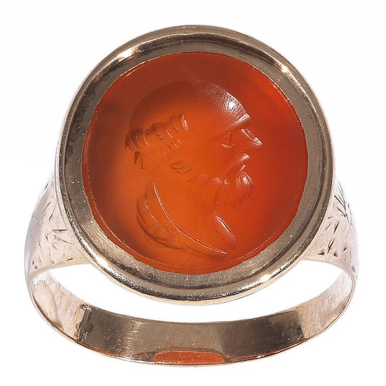 Georgian Carnelian Gold Intaglio Socrates Ring For Sale