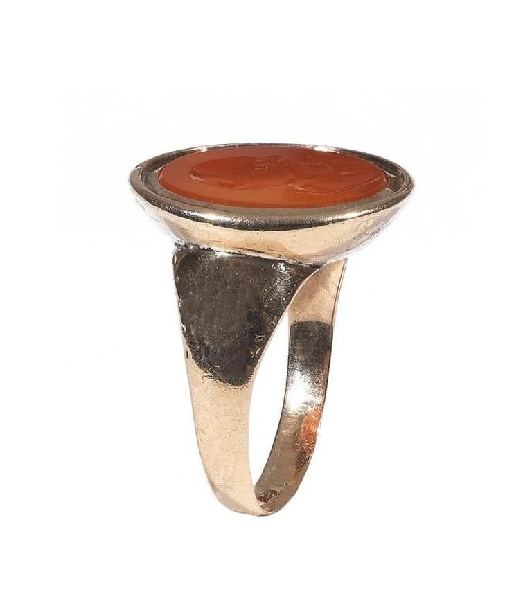 Carnelian Gold Intaglio Socrates Ring In Excellent Condition For Sale In Firenze, IT