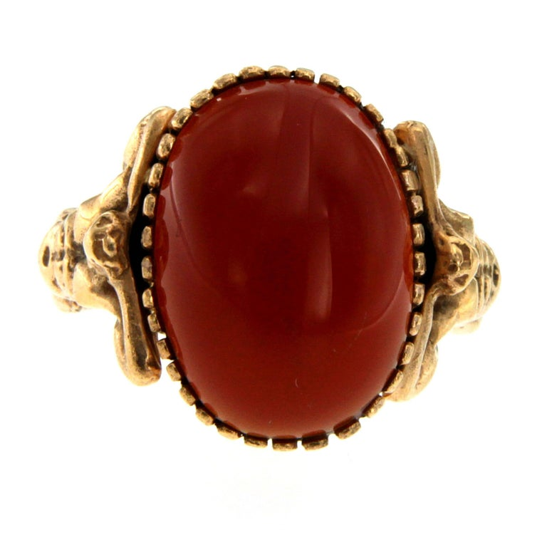 Carnelian Gold Sculptural Man Body Dome Gold Ring
