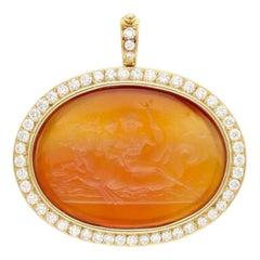 Carnelian Intaglio Diamond Pendant-Brooch