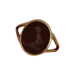 Carnelian Intaglio Seal and 9 Carat Gold Seal Intaglio Ring