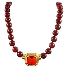 Carnelian Lion Motif Intaglio Necklace, Signed Elizabeth Locke
