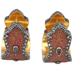 Sevan Biçakçi Carnelian and Diamonds Micro Mosaic Earrings in 24K Gold
