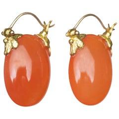 Gabrielle Sanchez Carnelian Oval Smooth 18 Karat Petal Flyer Earrings