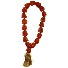 Carnelian Statement Necklace with Smiling Buddha Heads