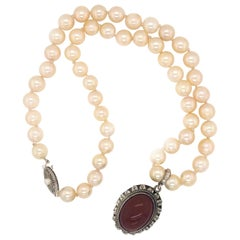 Carnelian Sterling Silver Pendant Enhancer on Akoya Pearl Strand Necklace