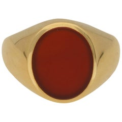 Carnelian Stone Signet Ring Set in 18 Karat Yellow Gold