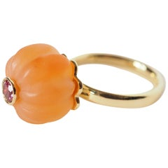 Carnelian Tourmaline Gold Ring