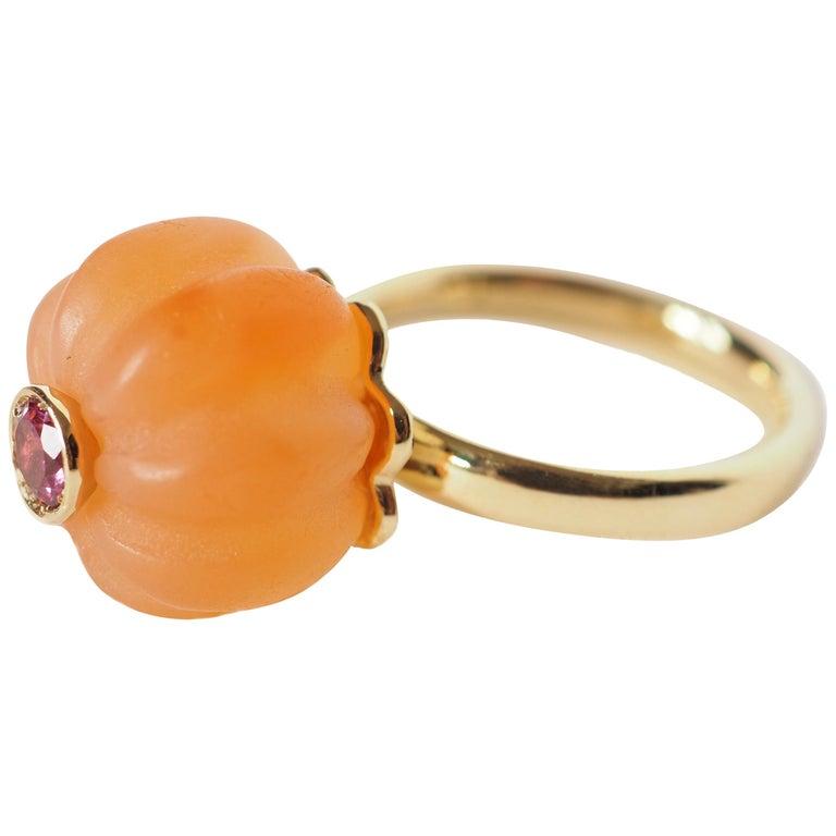 Carnelian Tourmaline Gold Ring For Sale