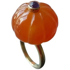 Carnelian Turban Fashion Ring Amethyst Cabochon 14 Karat Yellow Gold