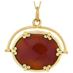 Carnelian Yellow Gold Watch Fob Necklace Pendant