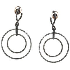 Colored Diamond Earrings Blackened Gold Michelle Ong art Carnet Long Earrings