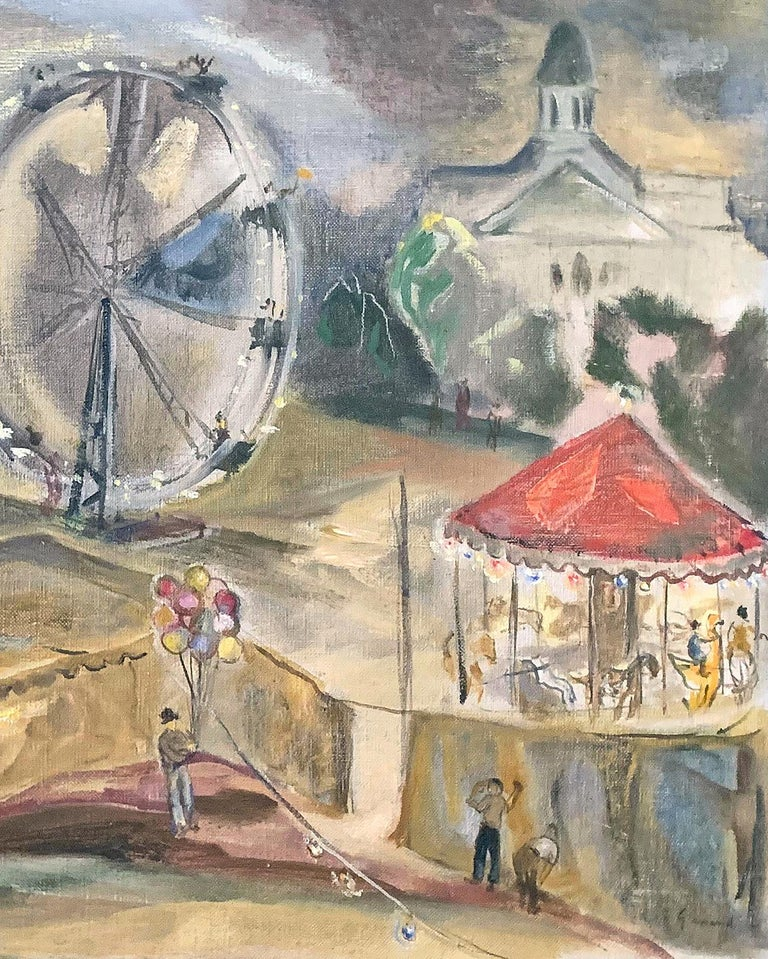 A celebration of 1930s America, full of atmosphere and color, this painting by John Gernand depicts a carnival in Manchester, New Hampshire, including a carousel, Ferris wheel, tents, and colorful posters beckoning to passers-by. Gernand was one of