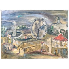 """Carnival in Manchester,"" Atmospheric, WPA-Era Painting with Carousel by Gernand"