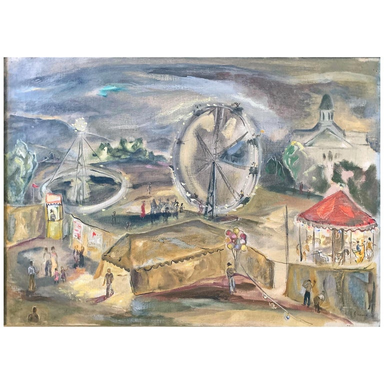 """Carnival in Manchester,"" Atmospheric, WPA-Era Painting with Carousel by Gernand For Sale"