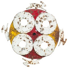 Carnival Midway Cast Iron Spinning Disc and Rabbit Shooting Gallery Target