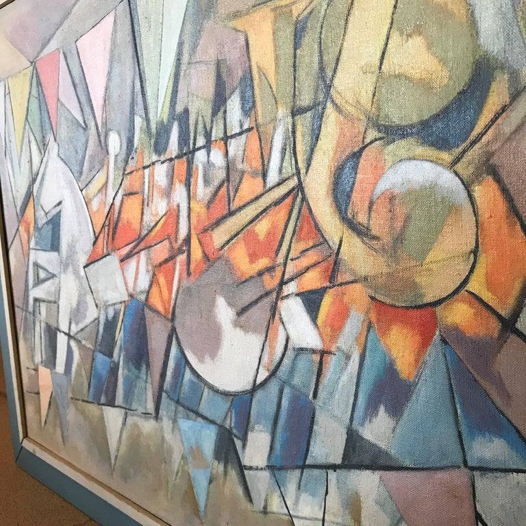 Mid-20th Century Carnival Parade Cubist Painting, 1956 Signed For Sale
