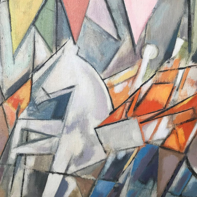 Carnival Parade Cubist Painting, 1956 Signed For Sale 1