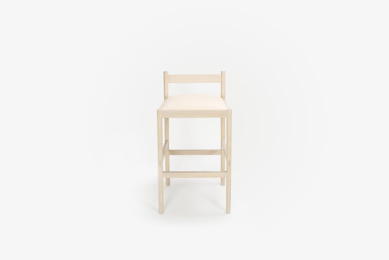 Chinese Carob Bar Stool by Sun at Six, Nude Minimalist Stool in Oak Wood and Leather For Sale