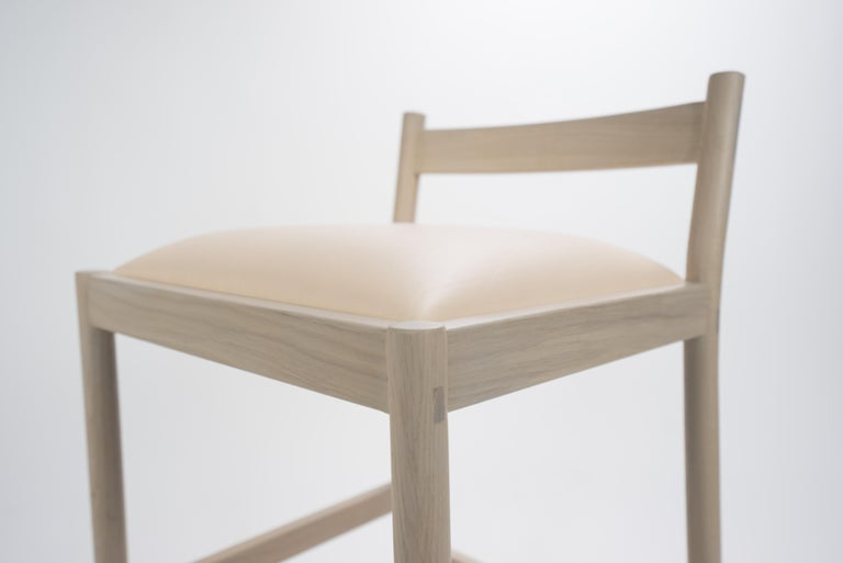 Joinery Carob Bar Stool by Sun at Six, Nude Minimalist Stool in Oak Wood and Leather For Sale