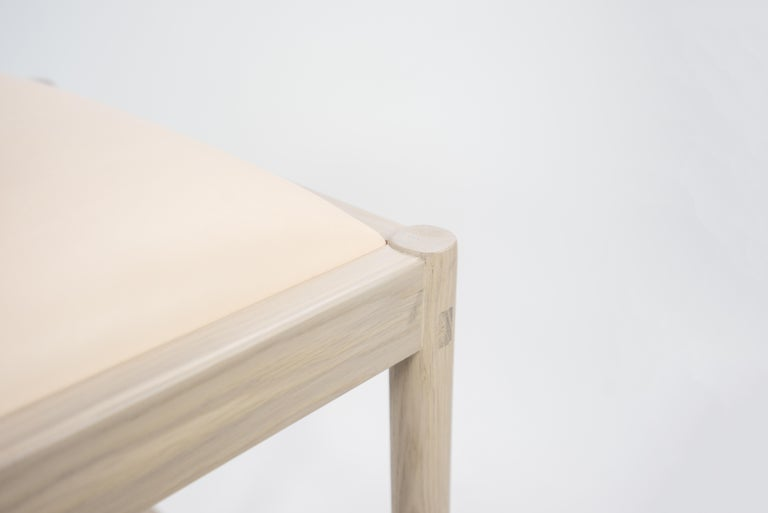 Contemporary Carob Bar Stool by Sun at Six, Nude Minimalist Stool in Oak Wood and Leather For Sale