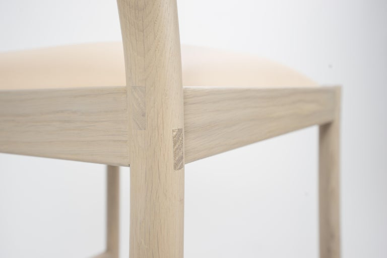 Carob Bar Stool by Sun at Six, Nude Minimalist Stool in Oak Wood and Leather For Sale 2
