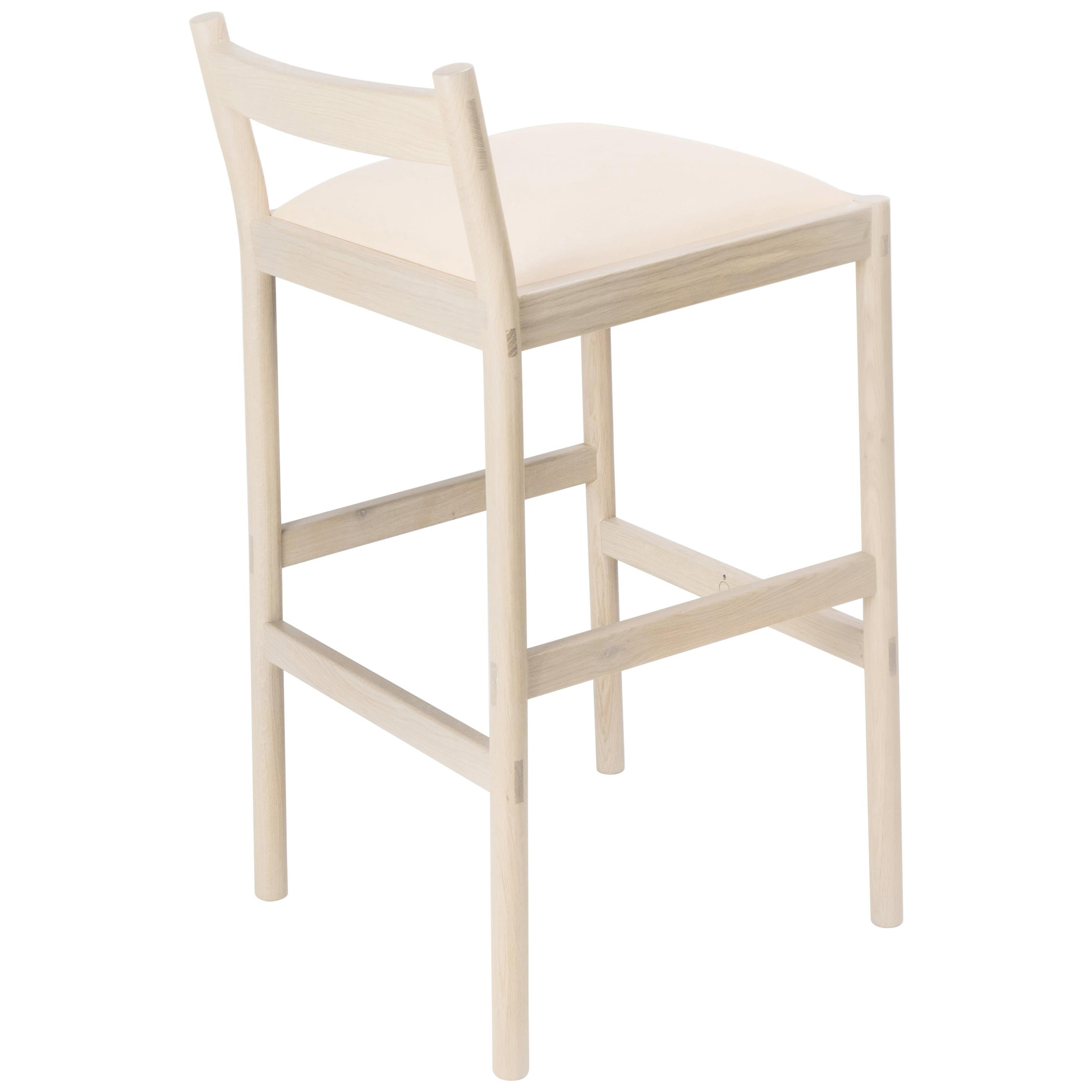 Carob Bar Stool by Sun at Six, Nude Minimalist Stool in Oak Wood and Leather