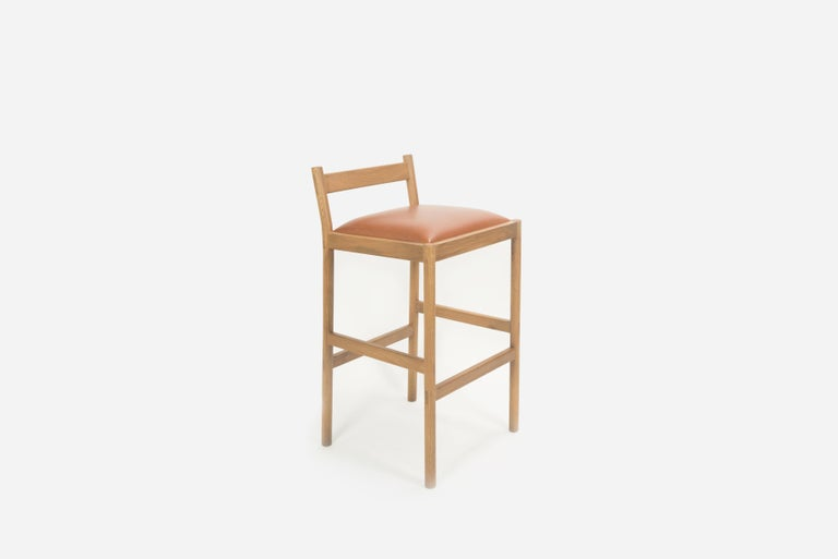 Joinery Carob Bar Stool by Sun at Six, Sienna Minimalist Stool in Oak Wood and Leather For Sale