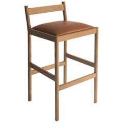 Carob Counter Stool by Sun at Six, Sienna Minimalist Stool in Oak Wood