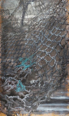 """365 Days"" mixed media black, gray and turquoise painting of a fishing net"
