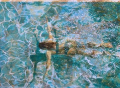 """Break Time (paper)"" abstract painting of a woman swimming in teal water"